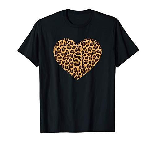 Leopard Herz Gepard Muster Fell Leopardenmuster T-Shirt