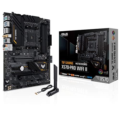 ASUS TUF Gaming X570-PRO WiFi II - Placa Base Gaming ATX AMD AM4 X570 (PCIe 4.0, Dos M.2, 2.5G Intel LAN, Wi-Fi 6E, 14 etapas de Potencia Dr. Mos, USB 3.2 Gen. 2 de Tipo C y Aura Sync RGB)