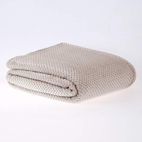 Sleepdown Luxuriöser Überwurf aus Waffel-Fleece, superweich, warm, gemütlich, Wabenmuster, Tagesdecke, 200 x 250 cm, Polyester, 200 x 250 cm