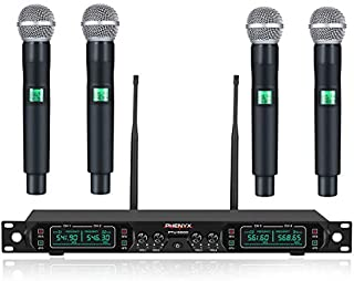 Wireless Microphone System, Phenyx Pro 4-Channel UHF Cordless Mic Set With Four Handheld Mics, All Metal Build, Fixed Frequency, Long Range 260ft, Ideal for Church,Karaoke,Weddings, Events (PTU-5000A)