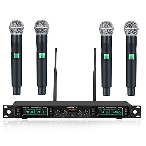 Wireless Microphone System, Phenyx Pro 4-Channel UHF Cordless Mic Set With Four Handheld Mics, All...