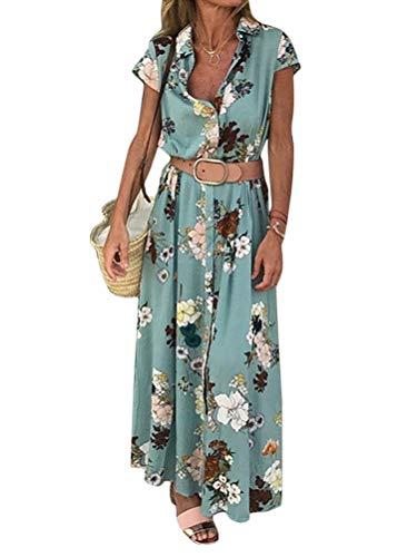 Tomwell Femme Bohème Longue Robe Été Plage Floral À Manches Courtes V Neck Chic Parti Cocktail Maxi Robe Vert 42
