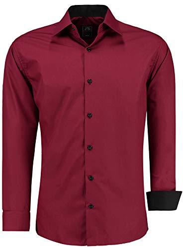 J'S FASHION Herren-Hemd - Vergleichssieger 2019* - Slim-Fit - Langarm-Hemd - Bügelleicht - EU Größen: S bis 6XL - Bordeauxrot XL