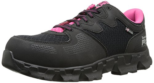 Timberland PRO Women's Powertrain Alloy Toe ESD W Industrial Shoe,Black/Pink Microfiber And Textile,8.5 M US