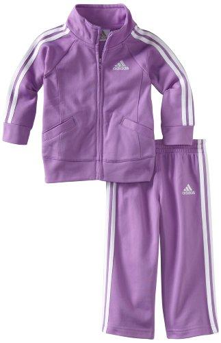adidas Baby Girls' Tricot Zip Jacket and Pant Set, Purple Basic, 3 Months