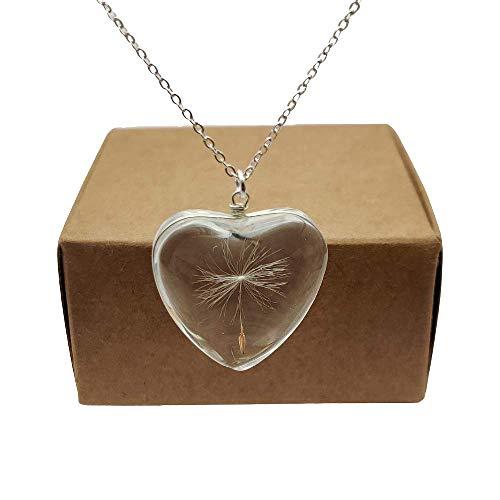 Dandelion Make a Wish Real Flowers Big Heart Love Glass Pendant 925...