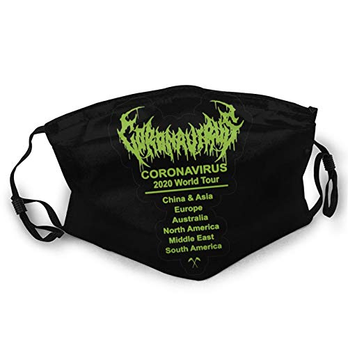 Cor-onaVirus World Tour Funny mask Anti-dust Face Mouth Dust Mask for Camping Travel Black