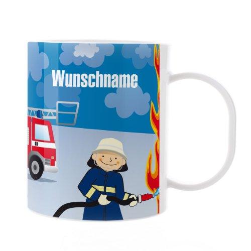 Striefchen® Kinder Tasse aus Kunststoff mit Wunschame - Motiv: Feuerwehrmann