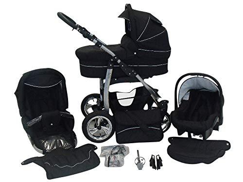 Poussette Combinée Trio landau 2en1 3en1 Isofix siège Auto D-Deluxe by SaintBaby noir & noir 3en1 avec siège bébé