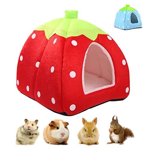 Casa de invierno para mascotas de animales pequeños, cama caliente multifuncional de fresa, saco de dormir portátil antideslizante para hámster Guinea ardilla chinchilla erizo rojo / azul