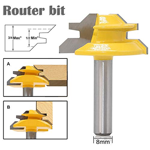 Leijing Fresa per scanalatura Router Bit 8 x 1-1/2 per taglialegna, utensile da falegnameria, asta 45 gradi, blocco blocco