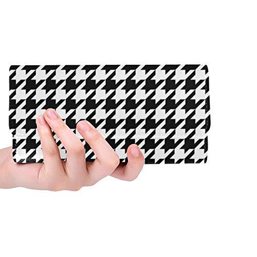 Einzigartige benutzerdefinierte schwarz weiß Hahnentritt Klassische Frauen Trifold Wallet Lange Geldbörse Kreditkarteninhaber Fall Handtasche