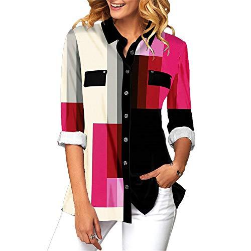 DISCOUNTL Shirt Damen Shirt Karo Hemd Damen hemdblusenkleider Damen Business Hemd Hemden 4XL Hemden in 5XL Leopardenmuster (Produkt enthält nur Shirt)