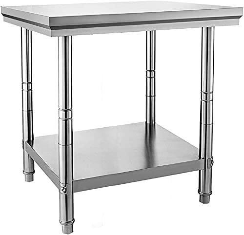 VEVOR Mesa de Trabajo de Acero Inoxidable 60x60x88cm Tabla de cocina profesional Cocina de acero inoxidable Tabla de trabajo de cocina de acero inoxidable de catering
