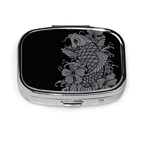 Square Pill Box Medicine Case Koi Fish Grey On Black Fashion Pill Organizer Travel Pill Case Dispenser for Vitamins Supplements