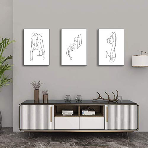 Minimalistic Wall Art Prints Woman Body Minimal Drawing Hand Painted Texture Canvas Print Poster Black and White Line Art Decor Painting for Living Room Bedroom Decor3PCS