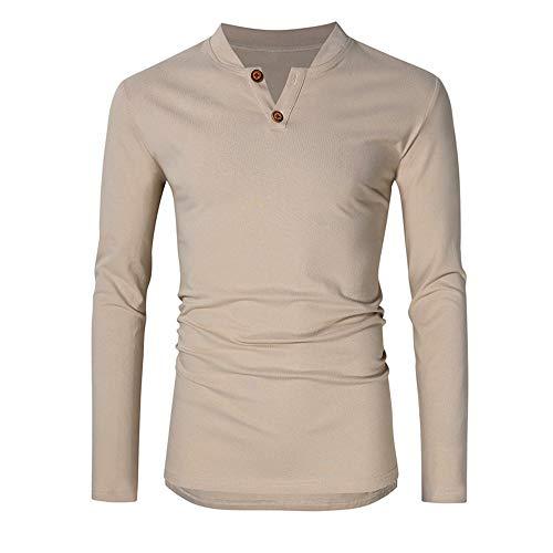 Herren Langarmshirt Slim fit Henley Shirt Frühling Herbst Winter Hemd Leicht...