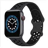 AIGENIU コンパチブル Apple Watch バンド 2個留め金具の多空気穴通気性 シリコン スポーツ バンド Compatible for アップルウォッチ バンド 42mm 44mm Apple Watch Series 6/SE/5/4/3/2/1に対応 (42/44mm ML, 無煙炭&ブラック)