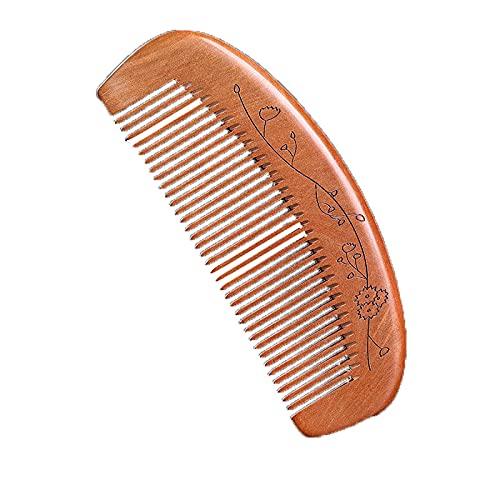 JIAZHUO Peine de madera, estilo natural, dientes anchos, madera, antiestático, elegante, para cabello grueso o rizado seco, desde el tamaño del bolsillo, S