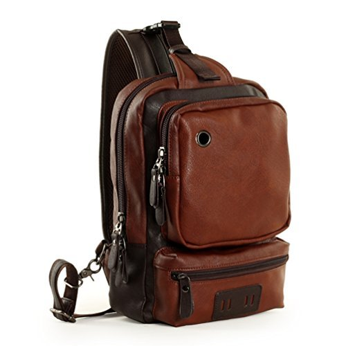 Zebella Men's Letaher Unbalance Chest Pack Multipurpose Backpack Crossbody Shoulder Bag Travel Sling...