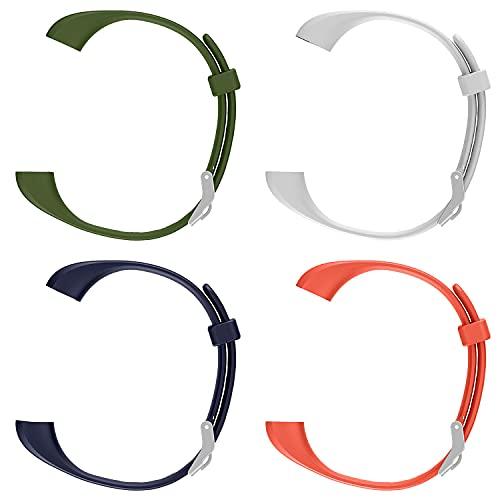 ENGERWALL Smartwatch Pulsera Inteligente(Verde Militar + Blanco + Azul + Naranja), Nuevas Correas de Repuesto de Material para Fitness Tracker, Pulseras de Pulsera Inteligentes de Moda