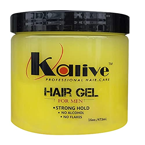 Kalive2style Mens Hair Styling Gel 16 Oz, Strong Hold Hair, Gel for Men with Light Shine and Refreshing Fragrance, Non-Flaking and No Alcohol