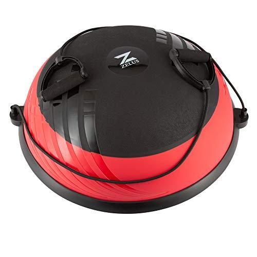 Z ZELUS 60 cm Pelota de Equilibrio Inflable con Bomba Bola de Yoga con 2 Bandas de Fitness Pelota de Yoga con Plataforma Capacidad 300 kg Equipo de Entrenamiento de Fuerza Yoga, Fitness (Rojo y negro)