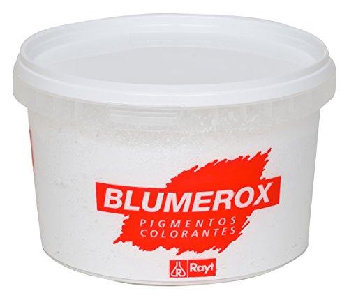Rayt 884-81 Blumerox Polvo para Interiores y Exteriores Cemento Gris, Cal y Yeso. Altísimo Poder colorante. Pigmentos de Primera Calidad. Color Blanco 01, 750gr