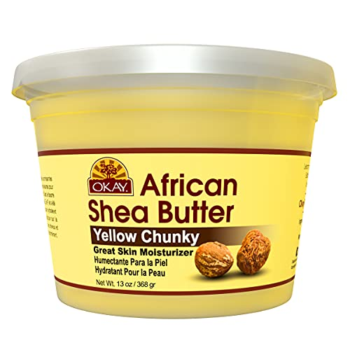 Okay Smooth All Natural,100% Pure Unrefined Daily Skin Moisturizer For Skin & Hair Yellow, Shea Butter, 13 oz