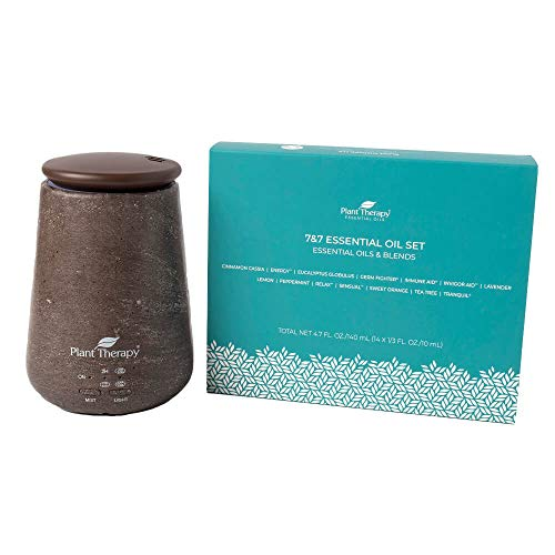 Plant Therapy TerraFuse Brown Diffuser and 7 & 7 Gift Set (7 Single Oils & 7 Essential Oil Blends)