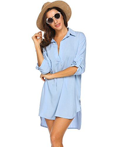 Unibelle Strandkleid Damen Bikini Cover Up Tunika Bluse Lang Strandkleid Damen Shirt Strandponcho Sommer Cuffed Sleeve Shirts Tops