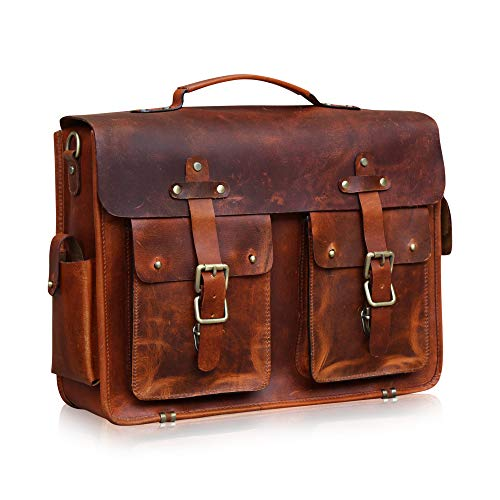 KALATING Real Genuine Top Grain Leather Briefcase Mens Womens Brown Messenger Laptop Shoulder Bag Business Trip Bag/Up to 15 inch Laptop/Brown