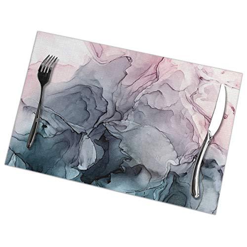 NOBRAND Blush en Payne's Grey Flowing Abstract Schilderij Placemat Wasbaar Voor Keuken Diner Tafelmat, Makkelijk schoon te maken Makkelijk te Vouwen Plaats Mat 12x18 Inch Set Van 6