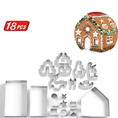 BAIVIT 18-Teiliges Set Weihnachts-Ausstecher 3D Edelstahl Lebkuchenhaus Brot Haus Keks Form Keks Backwerkzeug