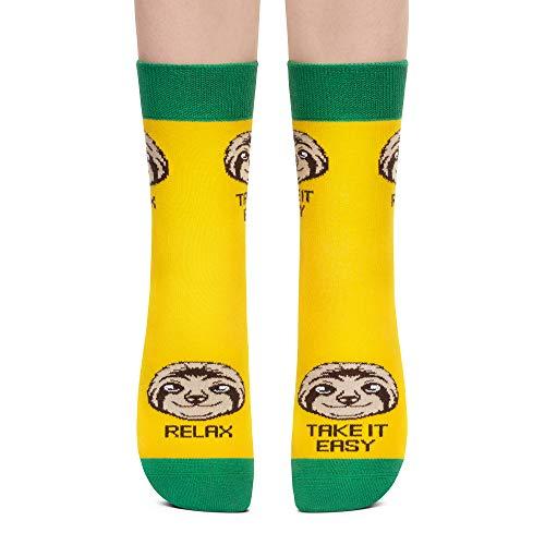 Petsy Lustige Socken für Damen und Herren - Baumwolle Bunt Motivsocken mit Spruch - Perfekt Verrückte Geschenke Mehrfarbig,Entspann, Sieh Es Gelassen,43-46