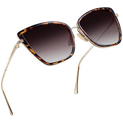 Joopin Gafas de Sol Mujer Ojo de Gato Retro UV400 Gafas Polarizadas de Moda Cateye Estilo Vintage para Mujeres de Gran Tamaño Leopardo