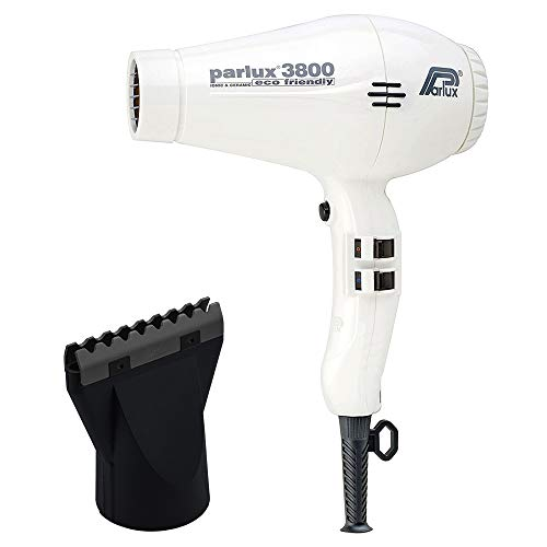 Parlux 3800 White Eco Friendly Ionic and Ceramic and M Hair Designs Hot Blow Attachment Black (Bundle - 2 Items)