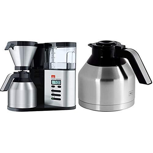Melitta 1012-06 AromaElegance Therm DeLuxe Filter-Kaffeemaschine, Schwarz/Edelstahl & Aroma Elegance Thermkanne SST