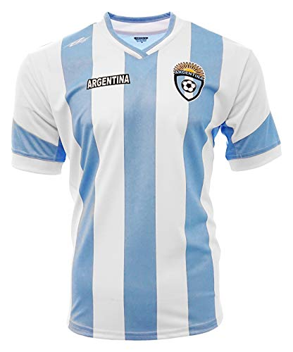 Argentina New Arza Soccer Jersey White Blue Slim Fit 100% Polyester (Large)