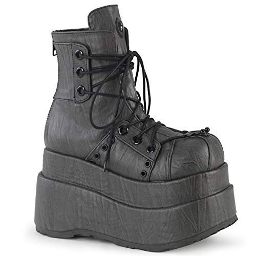 Demonia BEAR-120 Grey Textured Vegan Leather UK 8 (EU 41)