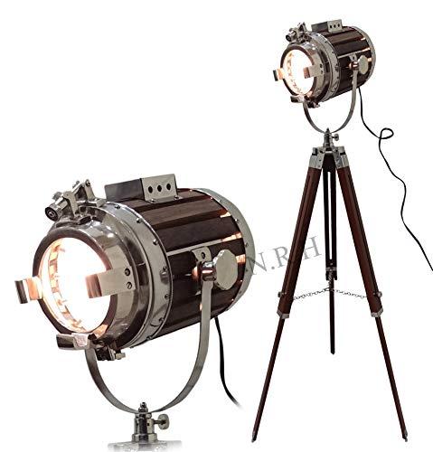 Nautical Studio Spot - Lámpara de pie con trípode (madera, con soporte)