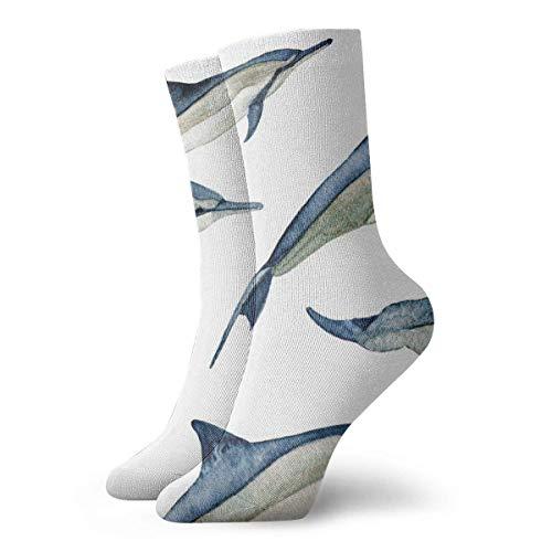 Hangdachang Acuarela Spinner Dolphins Lg Calcetines de compresión 30 cm (11,8 pulgadas) Calcetines de tobillo Vestido corto Calcetines de tripulación transpirables Regalos para hombres y mujeres