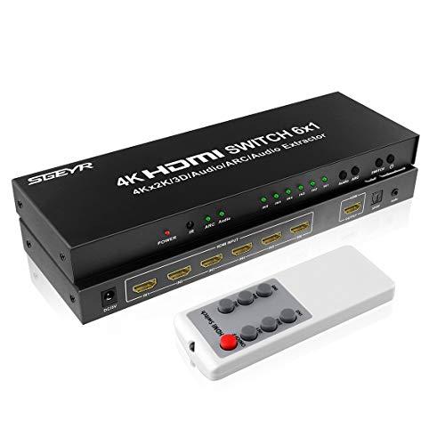 SGEYR 6x1 Switch HDMI 4K 6 port HDMI Switcher 6 In 1 Out HDMI Switcher Switch con Extractor de audio | Salida de audio y SPDIF de 3.5mm | Función ARC | Compatible con 4K 30Hz 3D 1080P HDMI 1.4
