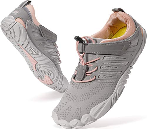 WHITIN Women's Minimalist Barefoot Shoes Low Zero Drop Trail Running 5 Five Fingers Size 8.5 Wide Toe Box for Female Lady Flat Heel Comfort Comfortable Treadmill Grey Pink 39