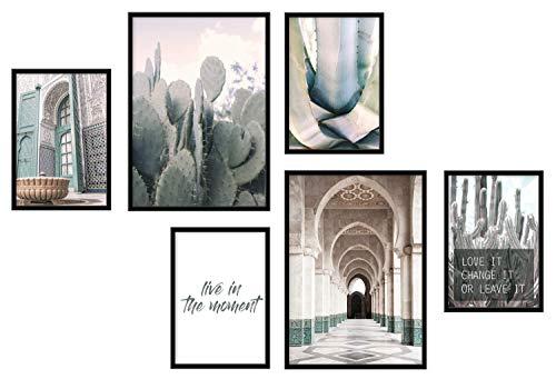Papierschmiede® Mood-Poster Set Marokko | 6 Bilder als stilvolle Wanddeko | 2X DIN A3 und 4X DIN A4 | Afrika Kaktus Arabisch - ohne Rahmen