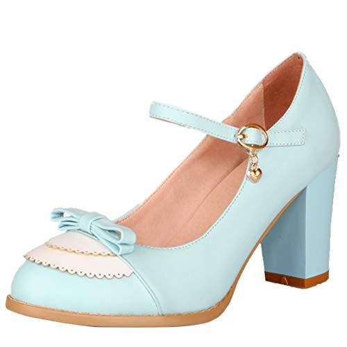 AIYOUMEI Damen Rockabilly High Heels Mary Jane Damenschuhe Blockabsatz Pumps mit Schleife Lolita Schuhe Blau 39.5 EU
