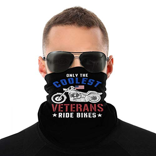 Only The Coolest Veterans Ride Motorcycles Unisex Neck Gaiter Face Mask Warmer Mouth Cover Windproof Sports Bandanas White