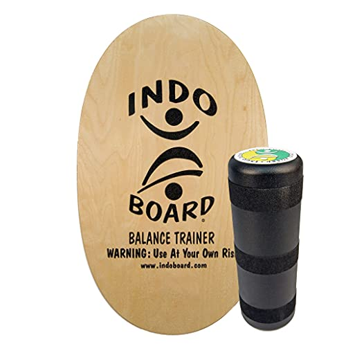 INDO BOARD Original - Natural Wood Finish - Balance Board for Fun, Fitness and Sports Training - Comes with 30' X 18' Non-Slip Deck and a 6.5' Roller