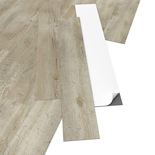 ARTENS - PVC Bodenbelag - Selbstklebende Dielen - Holz-Effekt - Hellbeige - 2,23m²/16 Dielen