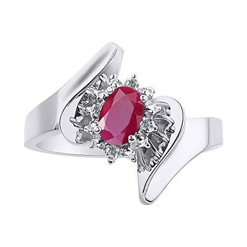 Anillo de plata de ley con diamantes y rubí – Halo de diamante – Anillo de piedra de nacimiento de color